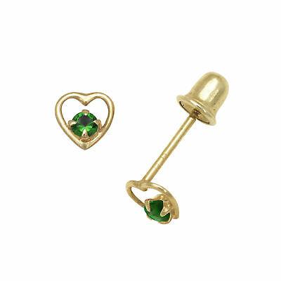 Girl Baby Emerald Birthstone Heart Shape Stud Earrings Screw Back 14K White Gold