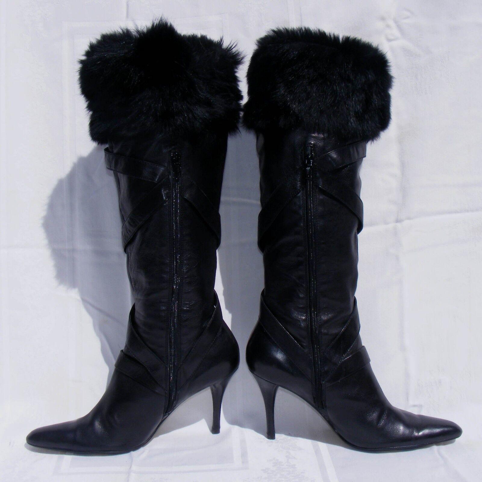 NINE WEST nero FASHION avvio, Leather Faux  Fur High talles, NWAnesia stivali 9.5M  elementi di novità