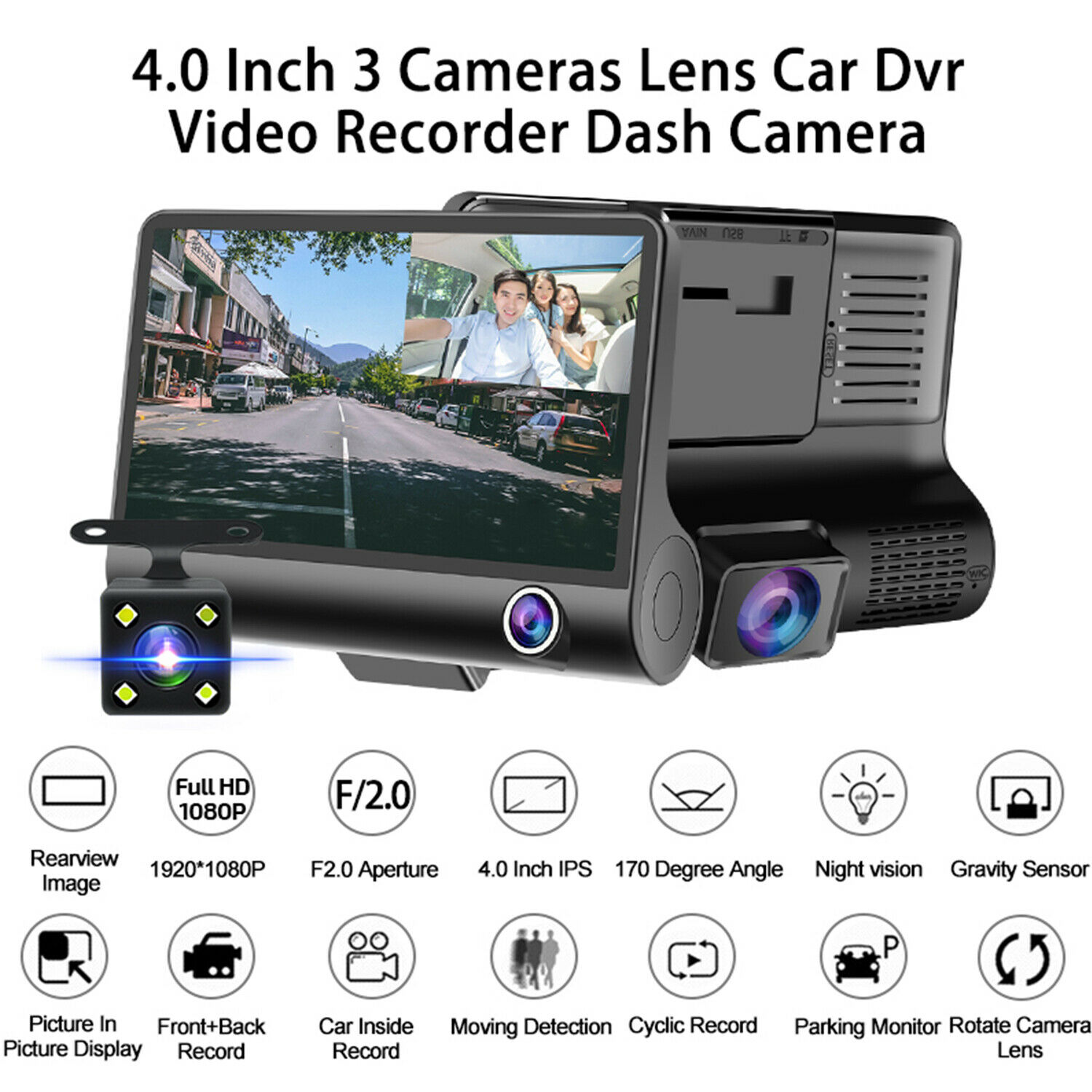 1080P 4'' HD Dual Lens Car DVR Dash Cam Vehicle Video Recorder Rearview Camera 1080p cam car dash dual dvr Featured lens recorder vehicle video