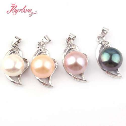 10mm Natural Round Freshwater Pearl Heart Gold Plated Necklace Pendant 1 Pc Gift