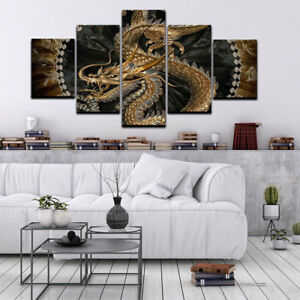 Image Is Loading 5pcs Animal Dragon Art Painting Print Canvas Picture
