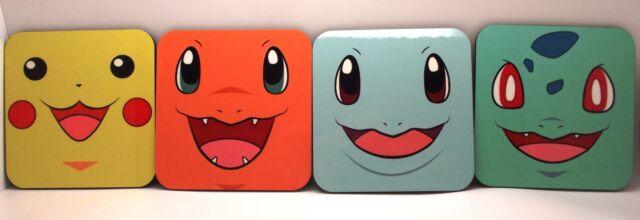 Pokemon Pikachu & More Set Of 4 Wood Coasters Mugs/Cups Geeky Gamer Retro-LBS4AL