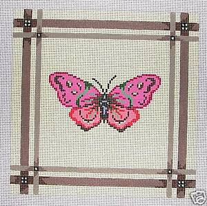 Patti-Mann-Pink-Butterfly-Handpainted-Needlepoint-Canvas