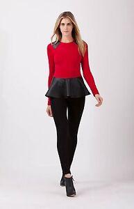Hale-Bob-Red-Peplum-Knit-Top-Long-Sleeve-XXS-NWT-3BRK2118