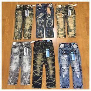 Brand New Boys Toddler Size 2t 3t 4t 5 7 Fashion Denim Moto Rip Kids Jean Pants Ebay