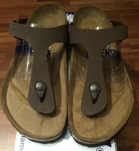 5dea3130337 Birkenstock Gizeh 043751 Size 35 L4 R Birkibuc Mocha Thong Sandals ...