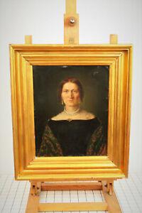 Biedermeier-Portrait-of-a-noble-Lady-Fine-Painting-Oil-on-Tin-45-295