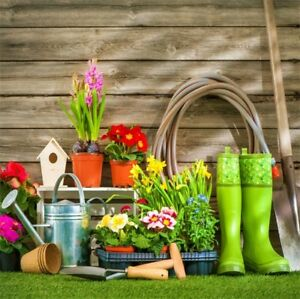 Yard Garden Tools Flowers Photography Background 10x10ft ...