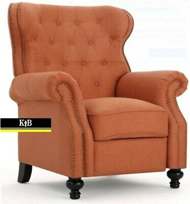 Orange Tufted Fabric Accent Recliner, Club Chair Recliner Fabric