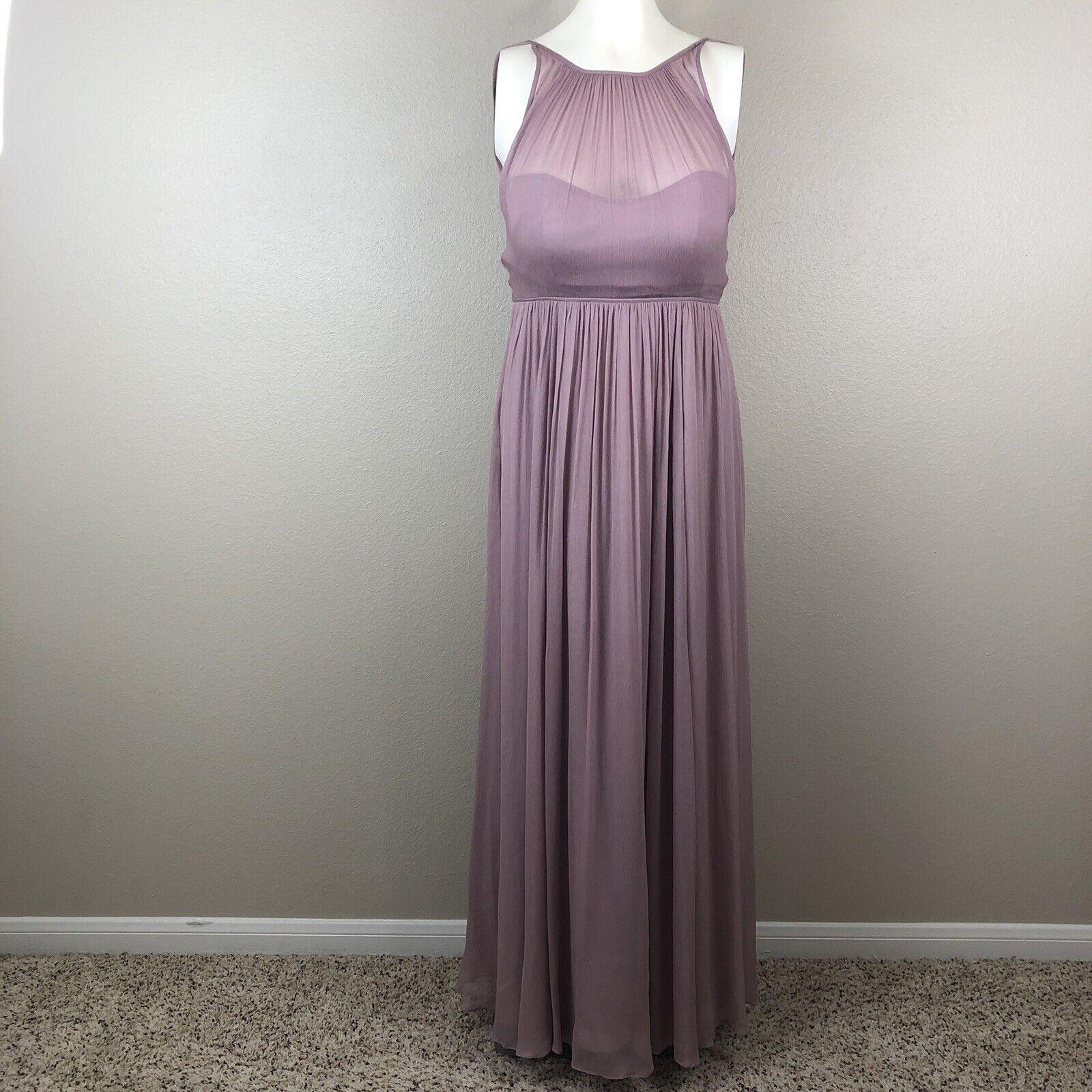 J.Crew Woherren Maxi Dress Rosa Bridal Bridesmaid Gauze Pockets Lined Padded Sz 6