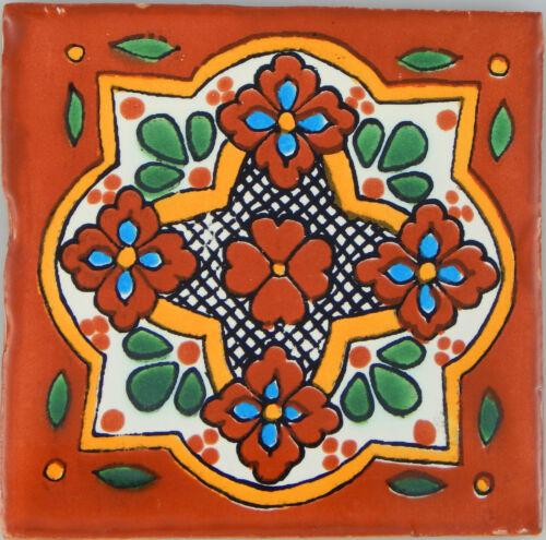 "C250 Mexican Handmade Talavera Clay Tile Folk Art 4x4/""  Handpainted"