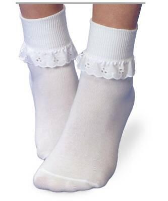 Jefferies Socks White Eyelet Lace Turn Cuff Sock  INF TOD XS