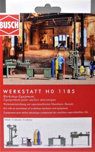 H0 BUSCH Werkstatt Drehbank Bohrmaschine Werkbank Amboss Gasflaschen Top # 1185