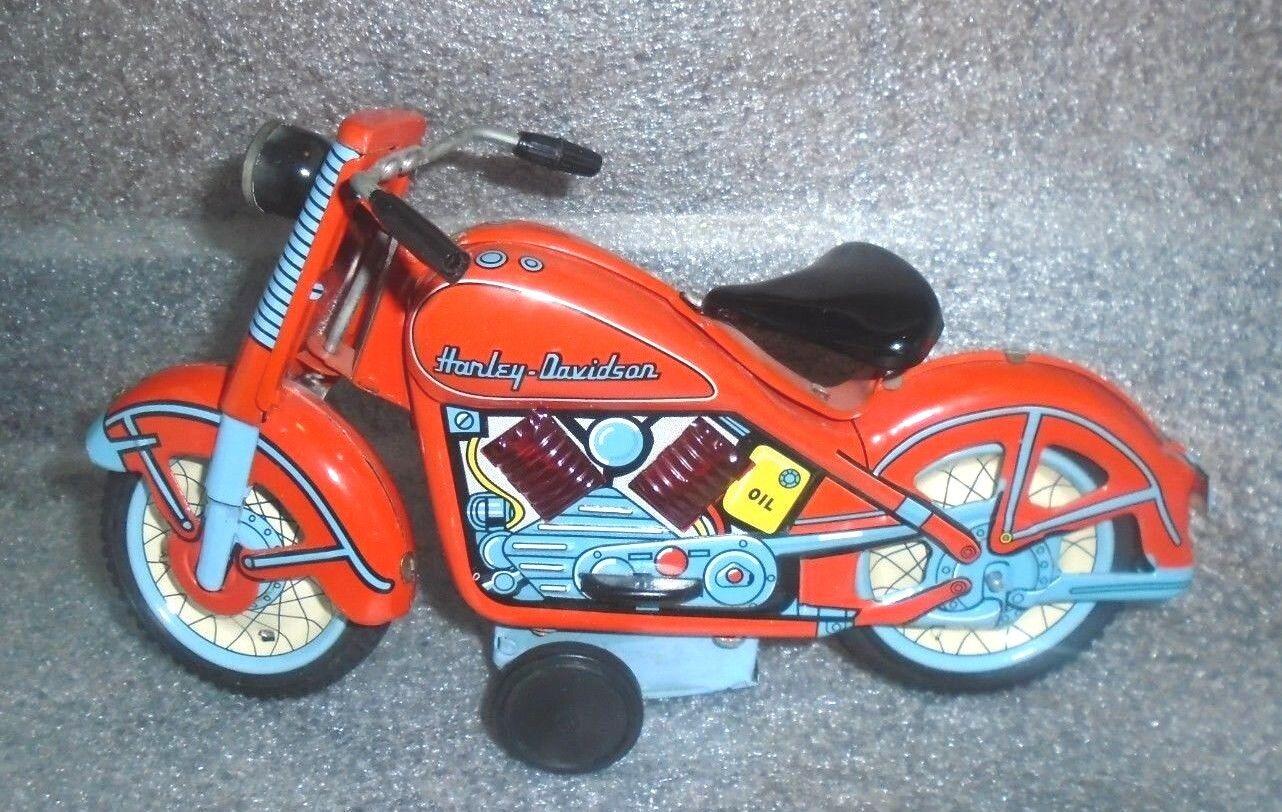 Antigua Lata Litografiada Fricción Juguete de motos Harley Davidson