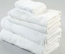12 NEW WHITE  HAIR/BATH TOWELS 20x40 100% COTTON WHOLESALE ECONOMY TOWELS
