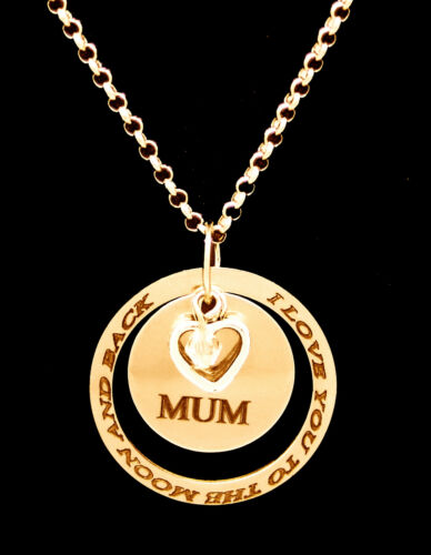 Personalised Ring Disc Pendant Engraved Name Necklace Silver Gold Rose Plated UK