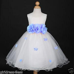 b191d1475 US Seller Ivory Light Blue Wedding Butterfly Petals Pageant Flower ...