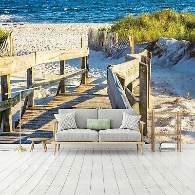 Vlies Fototapete Meer Strand Dünen Holzoptik Holz Wohnzimmer Bretter 94