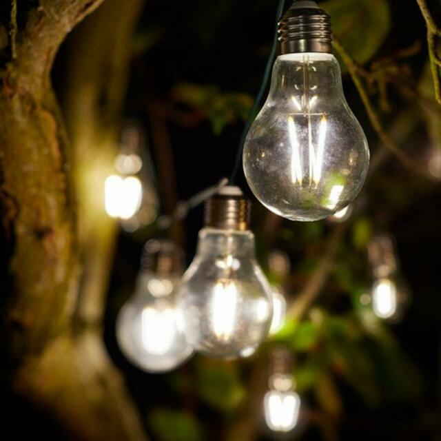 Smart Solar Eureka Retro Light Bulb String Outdoor Lights 2 Sets Of 10 1060301