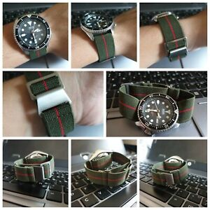 Green-Red-22mm-Elastic-Watch-Strap