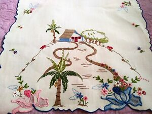 Rare-Spectacular-Colorful-Madeira-Island-Theme-Embroidered-Linen-Runner-41-034-x-16-034