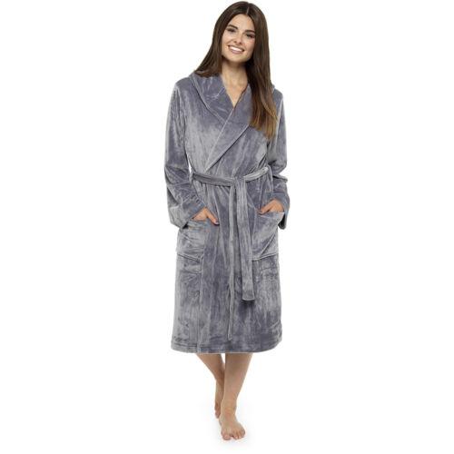 Wolf /& Harte Ladies Luxury Moleskin Hooded Dressing Gown Robe