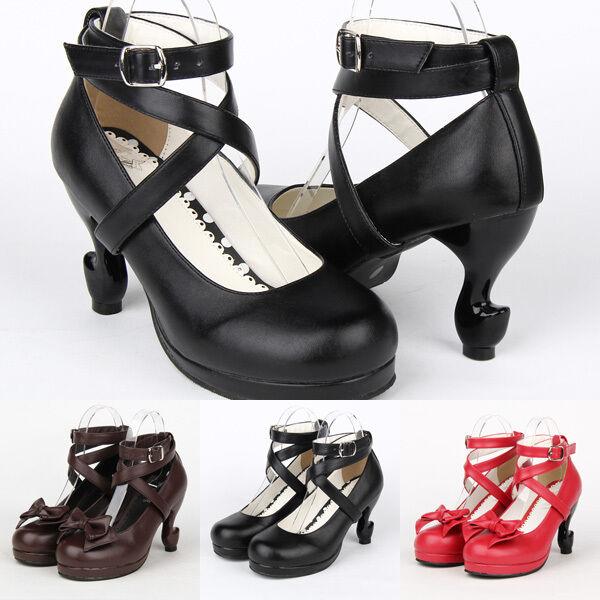 Gothic Lolita viktorianische rokoko Beine Absatz Schuhe Schuhes Kostüm Pumps Neu
