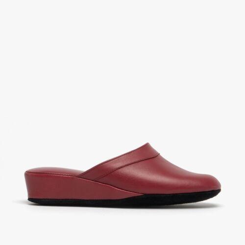 Chaleur FLORENCE Ladies Slip On Leather Italian Mule Heeled Slippers Bordeaux