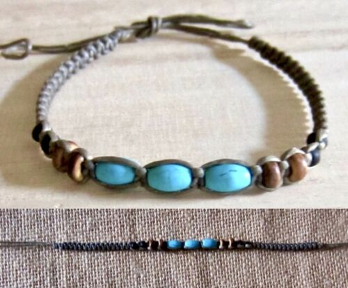 ANKLET TURQUOISE WOOD BEADS BROWN COTTON CORD ADJUSTABLE WRISTBAND men women new