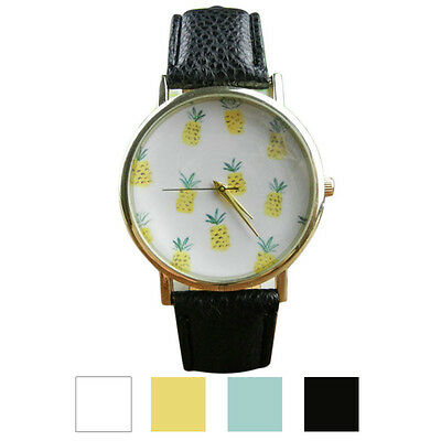 New Watch Men/Women Pineapple Pattern Leather Analog Quartz Vogue Wrist Watch