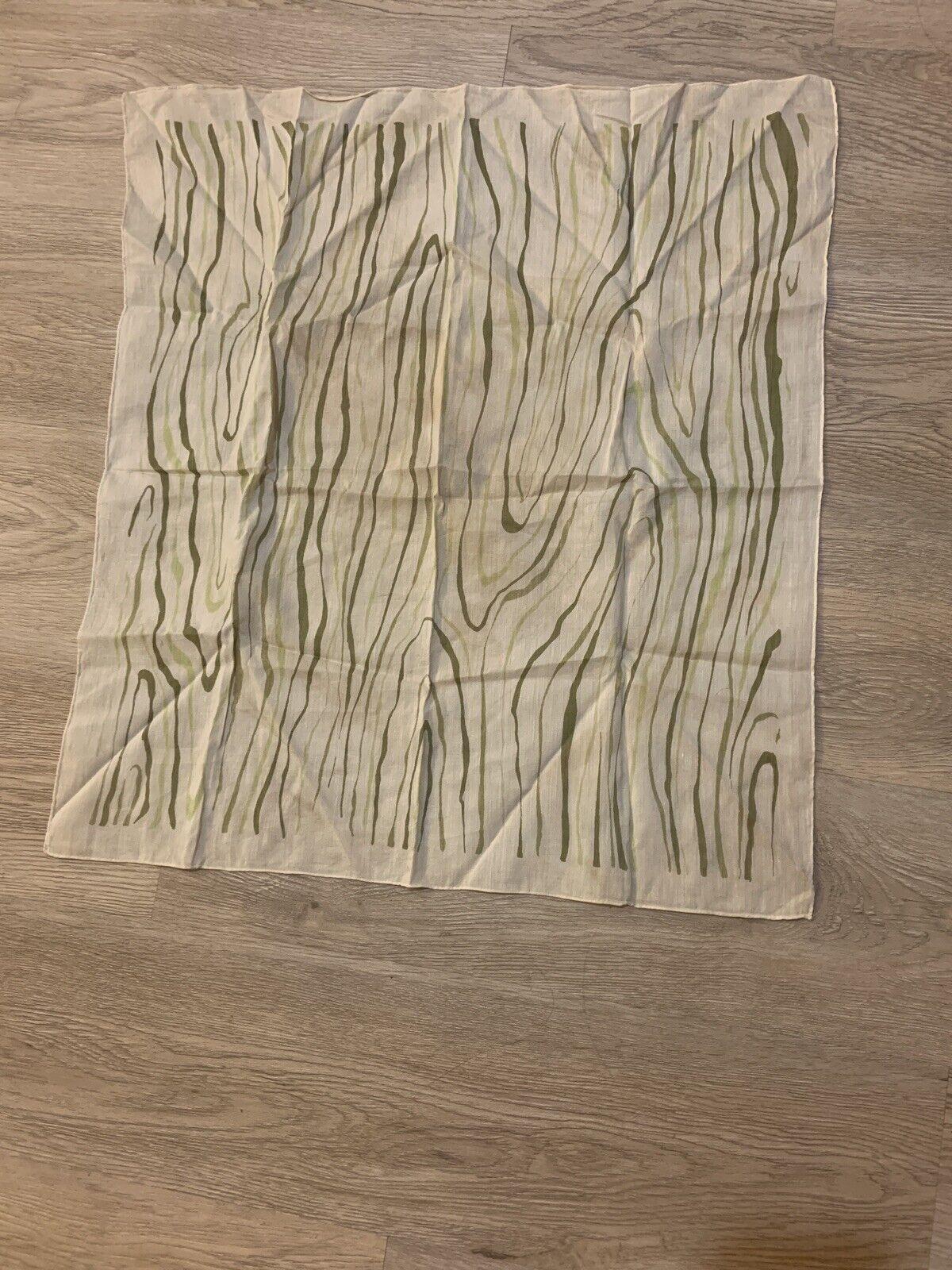 1940's Silk Scarf Greens Wood Grain Print VINTAGE - image 12