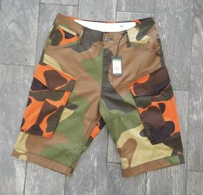 G STAR RAW ROVIC LOOSE MIXED MULTI PRINT CARGO SHORTS IN BLUE