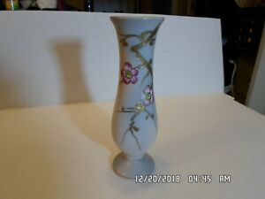 Vintage UCAGCO China Vase, Hand Painted Gold Stems with Pink Flowers
