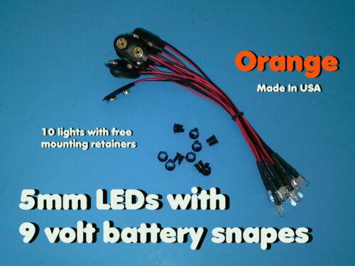 10 pcs 5mm ORANGE PRE WIRED LEDs 9 VOLT WATER CLEAR LED ON BATTERY SNAPS 9V CLIP