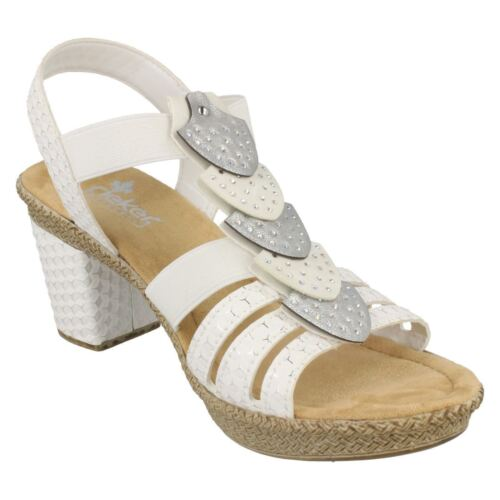 Ladies Rieker 66514 White Synthetic Heeled Sandals