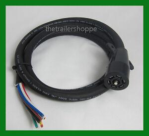 Molded Trailer Light Plug 7 Way RV Wiring Harness 10/' Cord Trailer End