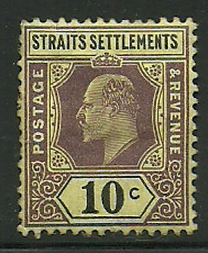 Album Treasures Straits Settlement Scott # 98 10c Edward VII Mint Hinged