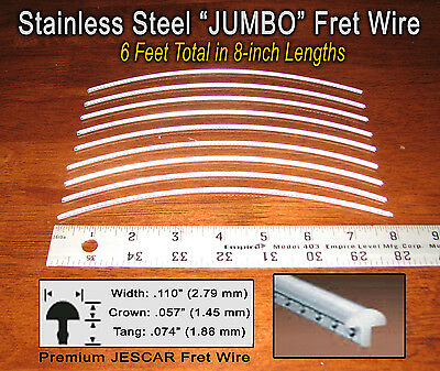 6ft jescar jumbo stainless steel frets fret wire for guitar bass more 797734821369 ebay. Black Bedroom Furniture Sets. Home Design Ideas