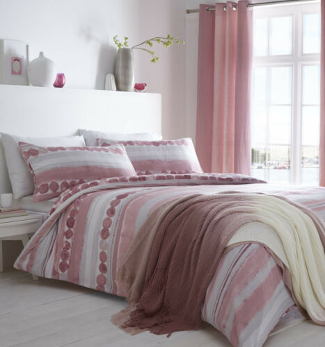 Pink Watercolour Striped and Spots Double Duvet Quilt Cover Bed Set