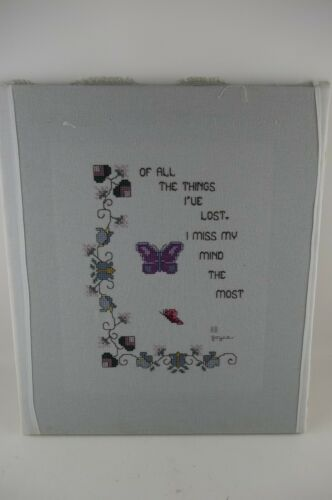 Vintage I MISS MY MIND THE MOST Finished Completed Wall Art Cross Stitch Sampler