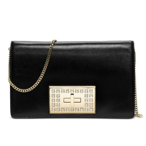 aa176f0bed16 ... buy michael kors black leather crystal ellie medium flap evening  shoulder bag clutch fea80 3be4a