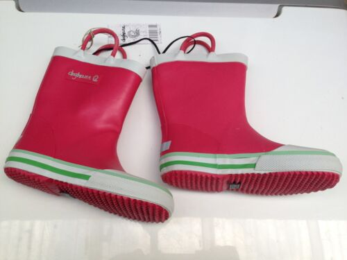 BNWT Little Girls Sz 13 Rivers Doghouse Brand Smart Dusty Red and Lime Gumboots