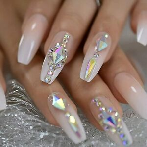 luxury nails custom large stones decorated nail art tips