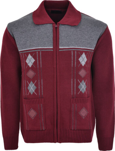 Men/'s Knitted Cardigan Classic Style Zipper WITH COLLAR