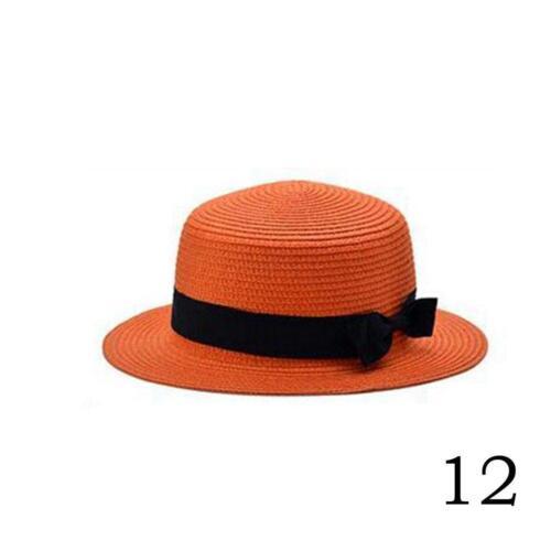 Frauen-Modus-Sommer-Strand-Sonne-flache Spitzen-Stroh-Boater-Hut-Schönheit Z4I1