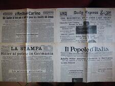1933 Elezione di Adolf Hitler Cancelliere del Reich Germania 4 quotidiani