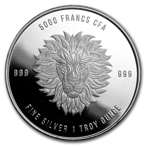 2018 Republic of Chad African Lion 1 oz .999 Silver Franc 5,000 Coin Lion King