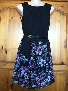 Womens-Atmosphere-Back-Floral-Belted-Dress-Size-8-New-With-Tags