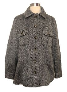 Who What Wear Herringbone Shirt Jacket Coat Button Up Pockets Wool Blend NWOT  S