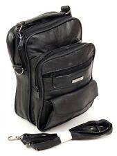 Mens Leather Manbag Shoulder Bag Womens Small Travel Organiser Document Handbag